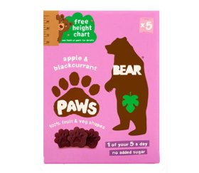 Bear Multi-Pack Apple & Blackcurrant Fruit Paws (4 x 5 x 20g)