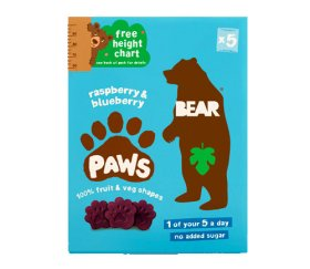 Bear Multi-Pack Raspberry & Blueberry Fruit Paws (4 x 5 x 20g)