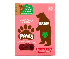 Bear Multi-Pack Strawberry & Apple Fruit Paws (4 x 5 x 20g)