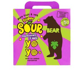 Bear Multi-Pack Yo-Yo's Super Sour - Blackcurrant & Apple (6 x 5 x 20g)