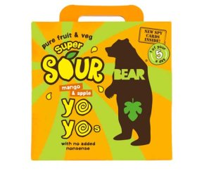 Bear Multi-Pack Yo-Yo's Super Sour - Mango & Apple (6 x 5 x 20g)