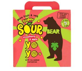 Bear Multi-Pack Yo-Yo's Super Sour - Strawberry & Apple (6 x 5 x 20g)