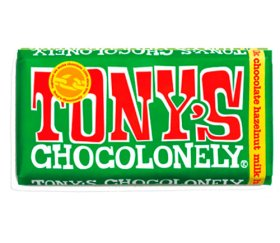 Tony's Chocolonely Milk Chocolate & Hazelnut Bar (15x 180g)