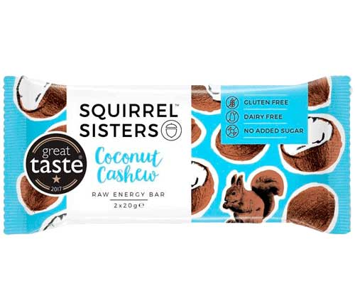 Squirrel Sisters - Coconut Cashew Raw Energy Bar (16 x 40g)